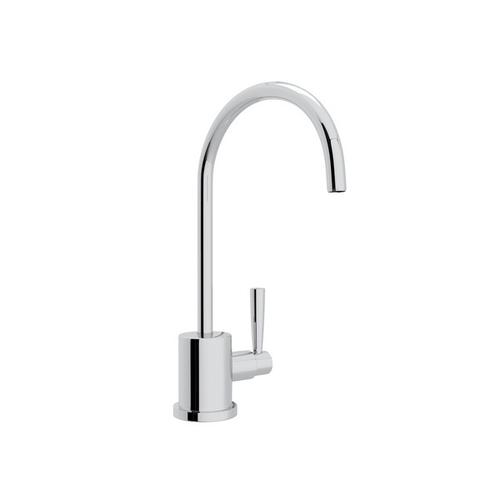 Polished Chrome Perrin & Rowe Holborn C-Spout Filter Faucet with Contemporary Metal Lever