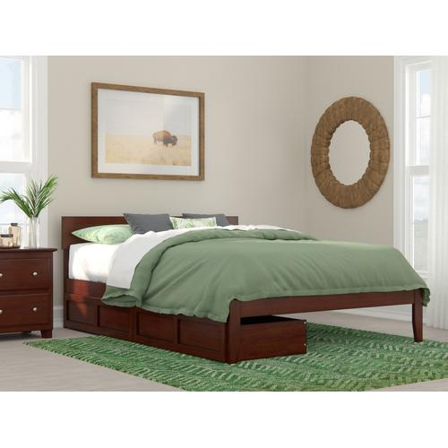 Atlantic Furniture - Boston Queen Bed with 2 Extra Long Drawers in Walnut