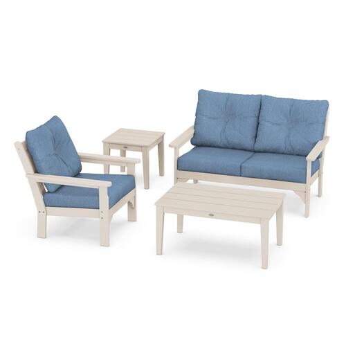 Vineyard 4-Piece Deep Seating Set in Sand / Sky Blue