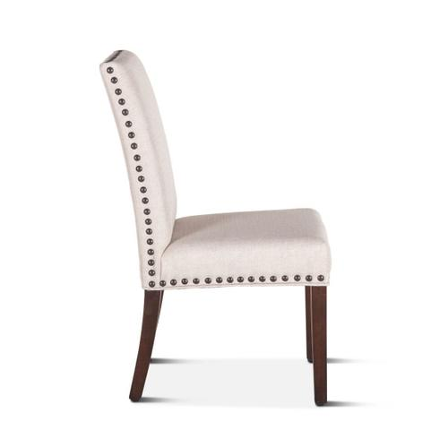 Sofie Dining Chair Off White with Walnut Legs