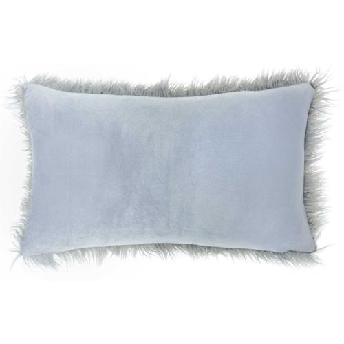 """Faux Fur Bj101 Light Grey 14"""" X 24"""" Lumbar Pillow"""