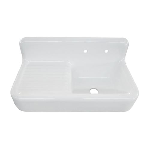 """Alma 42"""" Cast Iron Wall-Hung Kitchen Sink with Drainboard"""