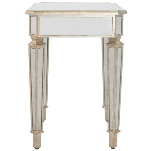 This side table is a wonderful way to add some light and freshness to any room in your home, especially a bedroom. Crafted of Birch Wood solids and trimmed with a beautiful antique pewter accent.