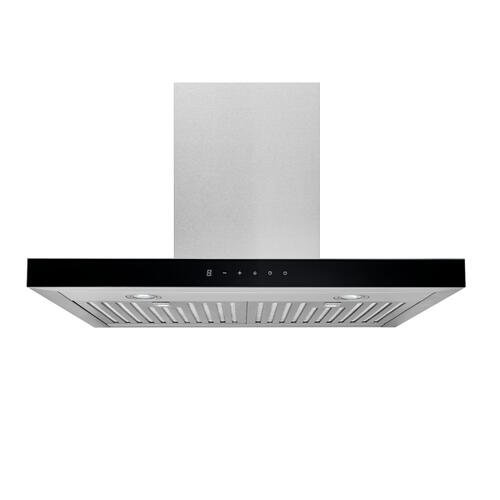 Broan® 30-Inch Convertible Wall-Mount T-Style Chimney Range Hood, 450 MAX CFM, Stainless Steel with Black Glass