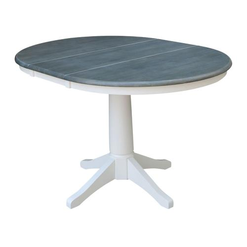 John Thomas Furniture - Round Extension Table in Heather Gray/ White