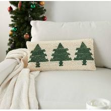 "Home for the Holiday Dc569 Green Ivory 12"" X 24"" Throw Pillow"
