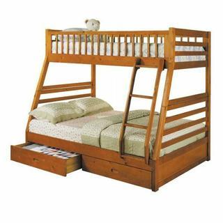 ACME Jason Twin/Full Bunk Bed & Drawers - 02018 - Honey Oak