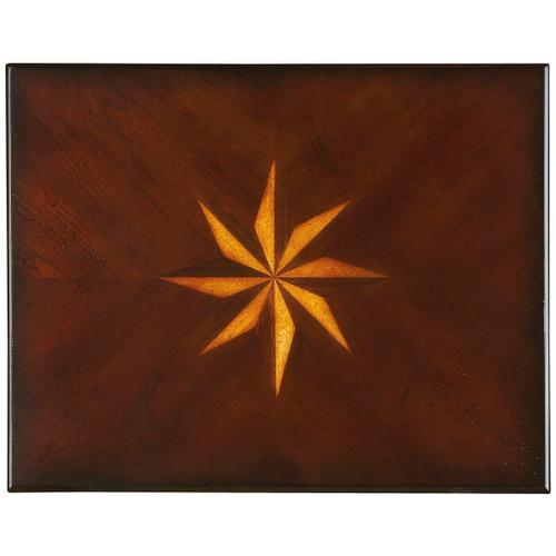 Selected solid woods, wood products and choice veneers. Four-way matched cherry veneer top with starburst inlay design of cherry, maple and walnut veneers.