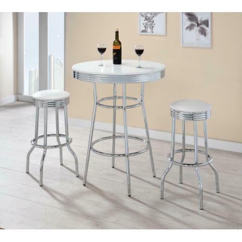 Coaster - Cleveland Contemporary White Bar-height Stool
