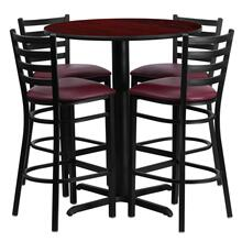 30'' Round Mahogany Laminate Table Set with 4 Ladder Back Metal Barstools - Burgundy Vinyl Seat