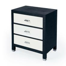 See Details - Bring a whole lot of texture to your bedroom, guestroom, or entry way or living room. This stunning Keros 3 Drawer Navy Raffia chest has 3 felt-lined drawers on metal glides and 3/4 extensinon for ample strorage for all your possessions. The crisp white drawer fronts are adorned with silver drawer pulls which give it a pop of modern style, while the navy dyed raffia is meticulously handwrapped around the wood frame to give it texture and dimension that fits within many aesthetics.