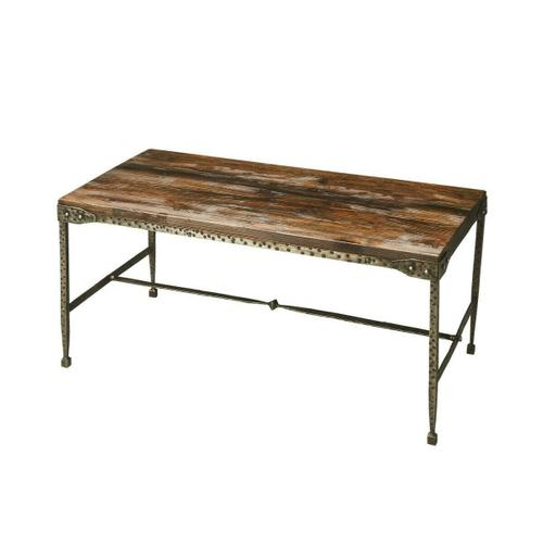 All rustic all the time and perpetually elegant in its simplicity, this cocktail table is hand-crafted from acacia solid wood and iron. Its burnt umber top and hammered pewter finish base complement one another perfectly, as it evokes the honesty and s
