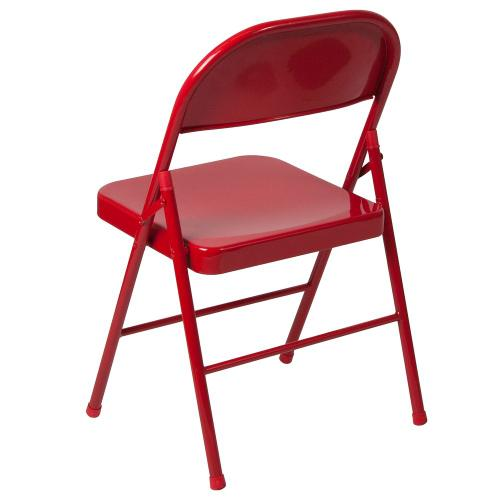 Alamont Furniture - Double Braced Red Metal Folding Chair
