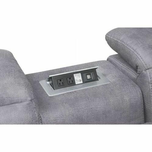 ACME Hosta Sectional Sofa (Power Motion) - 52485 - Gray Polished Microfiber