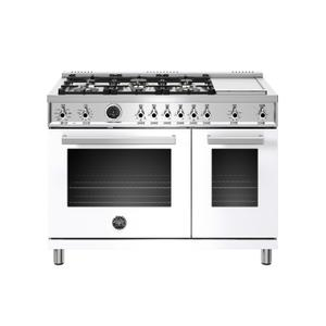 BERTAZZONI48 inch Dual Fuel Range, 6 Brass Burners and Griddle , Electric Self Clean Oven Bianco