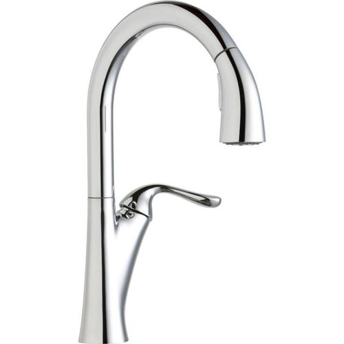 Elkay - Elkay Harmony Single Hole Kitchen Faucet with Pull-down Spray and Forward Only Lever Handle Chrome