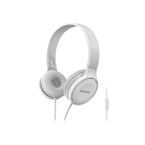 Lightweight On-Ear Headphones with Mic + Controller - White- RP-HF100M-W