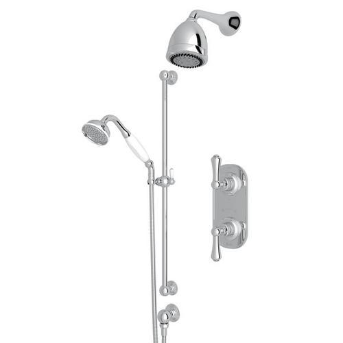 Polished Chrome GEORGIAN ERA THERMOSTATIC SHOWER PACKAGE with Georgian Era Solid Metal Lever