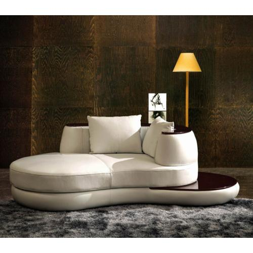VIG Furniture - Divani Casa Rodus - Rounded Leather Chaise With Wood Trim