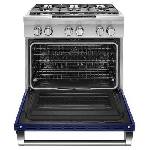 36'' 6-Burner Dual Fuel Freestanding Range, Commercial-Style Cobalt Blue