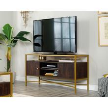 View Product - Contemporary Glass-Top TV Credenza with Doors