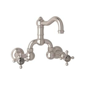 Satin Nickel Acqui Wall Mount Bridge Lavatory Faucet with Crystal Cross Handle