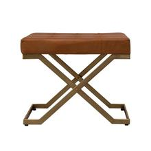 Product Image - Tufted Leather Stool with Brass Finish Metal Legs, Camel Color, Truck Ship