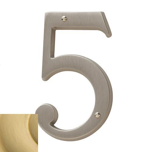 Lifetime Satin Brass House Number - 5