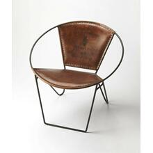 This verstile chair with its graceful curves, butterfly hind legs and the hand crafted artistry of forged wrought iron, combines with the rugged natural beauty of top stitched leather seat and back. This modern chair is perfect in any modern or transitio