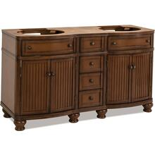 "60-1/2"" double Walnut vanity base with Antique Brushed Satin Brass hardware, bead board doors, and curved front"