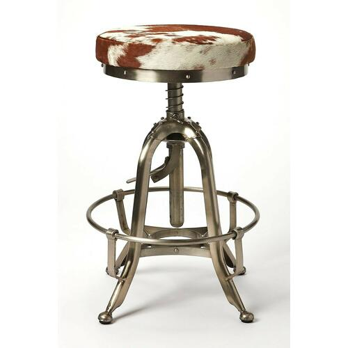 Butler Specialty Company - Perfect pulled up to your open-concept kitchen island, or paired with a rustic home bar, this stylish swivel bar stool lends a touch of rustic appeal to any ensemble. Crafted of Iron in a silver finish, the four-legged frame features a hand adjustment and a built-in hoop footrest. Sporting a warm brown and white finish, the backless Hair on Hide leather seat features a 360-degree swivel mechanism to keep you in the flow of conversation, while a threaded column shaft adjusts the seat height for a customized fit.