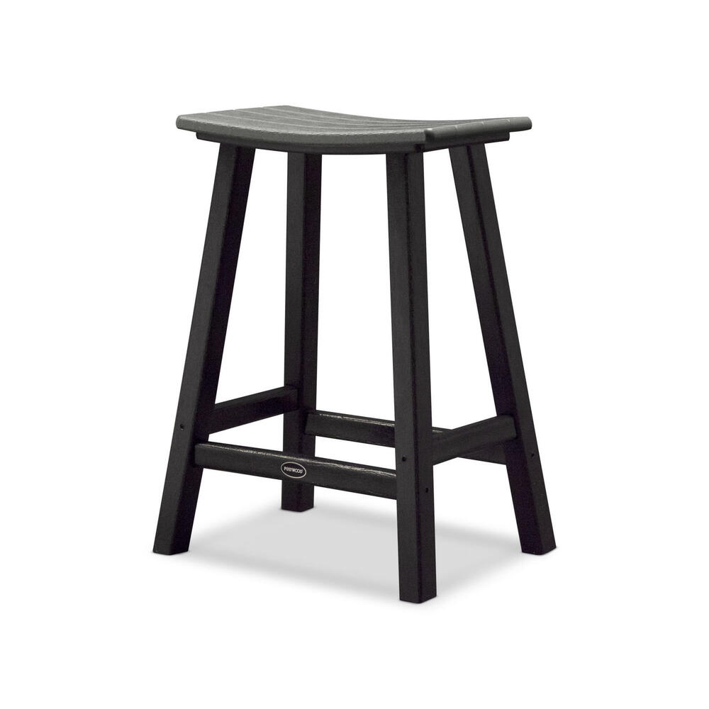 "Black & Slate Grey Contempo 24"" Saddle Bar Stool"