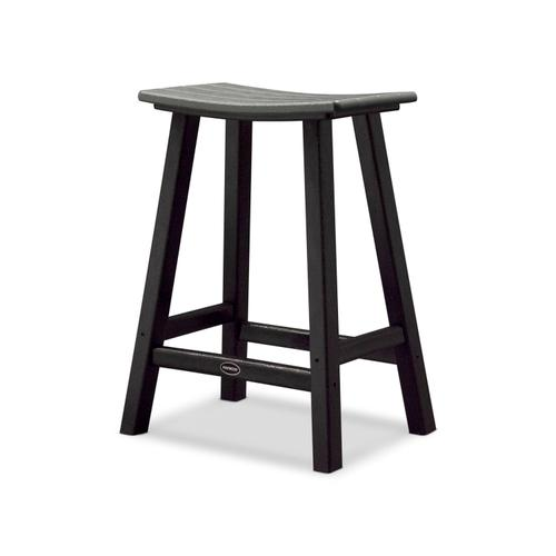 "White & Green Contempo 24"" Saddle Bar Stool"