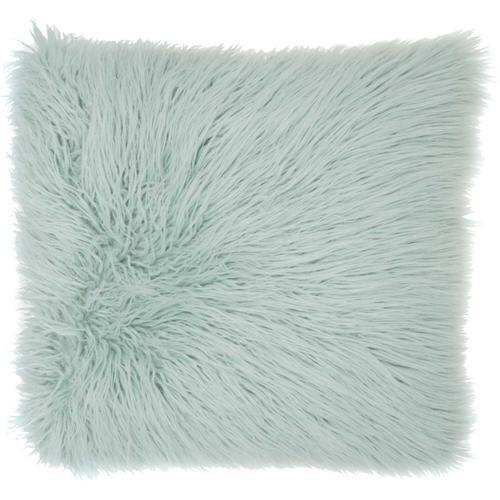 """Faux Fur Bj101 Sky 17"""" X 17"""" Throw Pillow"""