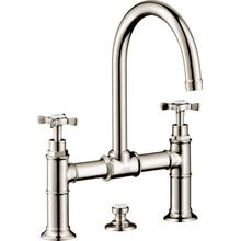 Polished Nickel 2-Handle Faucet 220 with Cross Handles and Pop-Up Drain, 1.2 GPM