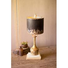 See Details - table lamp with round wooden base and black and gold metal shade