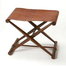 See Details - Leather meets wood for a smiple folding seat. Great alone or in multiples; its carefully stitched warm brown leather seat is supported by soild Meranti and Shorea wood base. This stool folds for easy portability and storage.