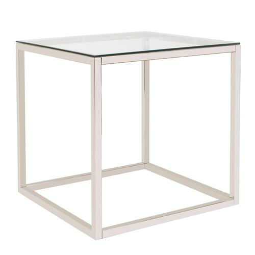 Howard Elliott - Square Stainless Steel Side Table - Clear
