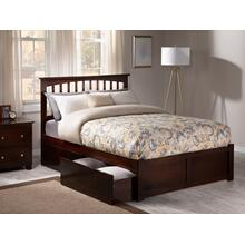 Mission Full Flat Panel Foot Board with 2 Urban Bed Drawers Walnut