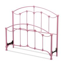 See Details - Amberley Fashion Kids Metal Headboard and Footboard Bed Panels with Elegant Curves and Floral Medallion Accents, Cotton Candy Pink Finish, Full