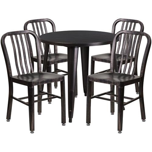 30'' Round Black-Antique Gold Metal Indoor-Outdoor Table Set with 4 Vertical Slat Back Chairs