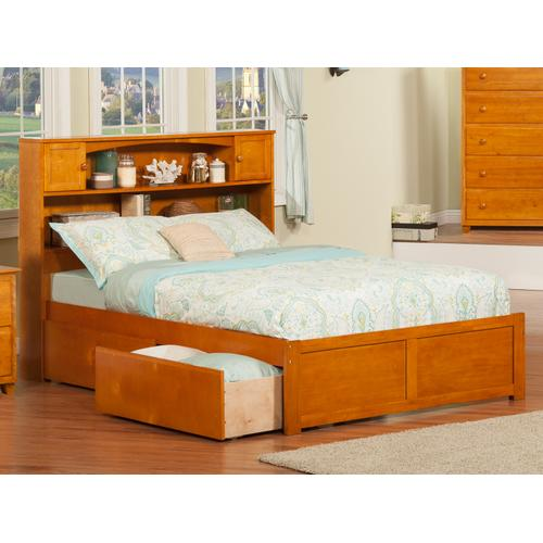 Newport Full Flat Panel Foot Board with 2 Urban Bed Drawers Caramel Latte