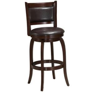 All Wood Furniture - Solid Hardwood Barstool with PU Padded Swivel Seat & Back