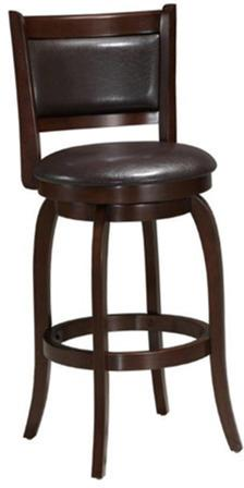 Gallery - Solid Hardwood Barstool with PU Padded Swivel Seat & Back