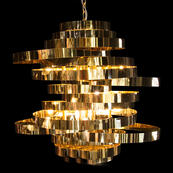 Hemispheres 8 Light Chandelier Gold