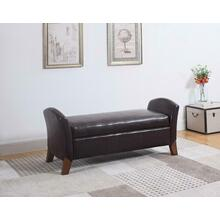 See Details - Upholstered Brown Faux Leather Bench