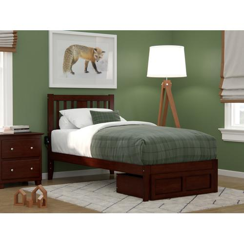 Atlantic Furniture - Tahoe Twin Bed with Foot Drawer and USB Turbo Charger in Walnut
