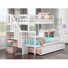 Woodland Staircase Bunk Bed Twin over Full with Raised Panel Trundle Bed in White