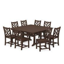 View Product - Chippendale 9-Piece Farmhouse Trestle Dining Set in Mahogany