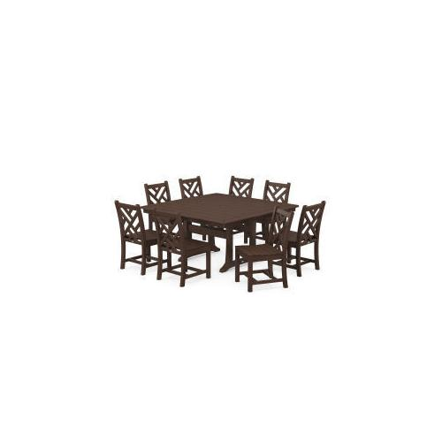 Polywood Furnishings - Chippendale 9-Piece Farmhouse Trestle Dining Set in Mahogany